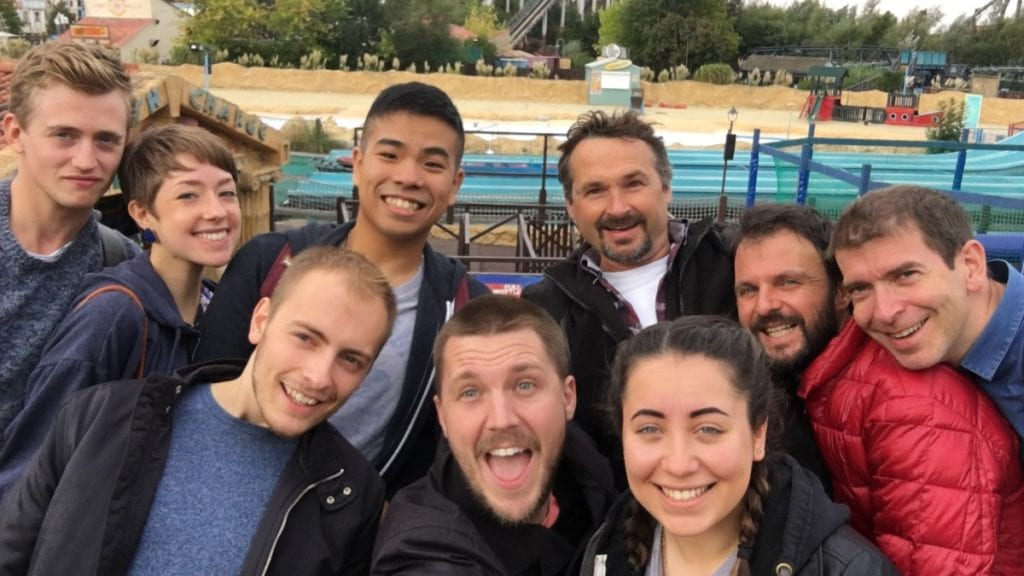 team building thorpe park selfie